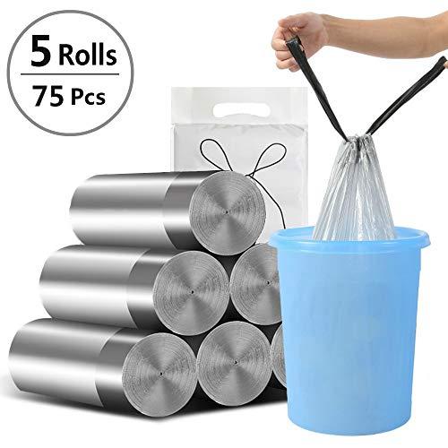 Moliwen Haushalt Kordelzug-Müllsäcke, 5 Rollen 20-Liter-Müllbeutel, Mülleimer Plastiktüten Garbage Müllsack, Mülltüten mit Griffen für Büro, Küche, Wohnzimmer, Schlafzimmer, Badezimmer (75 Beutel) -
