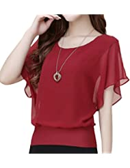 QHGstore Mujeres camiseta de verano de gasa Top Batwing camisa de manga corta suelta blusa casual vino rojo M