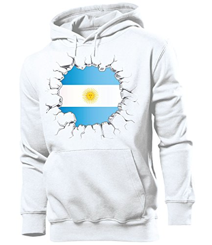 Argentinien Fußball-bälle (ARGENTINIEN Fanshirt Brust 5663 Herren Hoodie (HKP) Gr. XL)