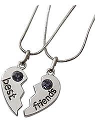 2, diseño de colgante de corazón a separar Best friends, piedra, color morado.