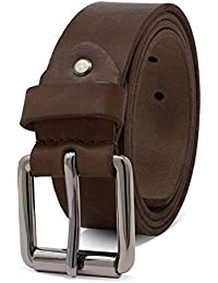 ROYALZ Vintage Cintura Uomo in robusta pelle di bufalo 4 mm, Cintura per Jeans con fibbia ad ardiglione antico - Larghezza della cinghia:38 mm