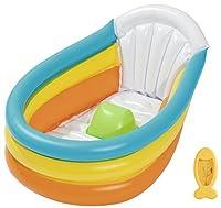 È l'ora del bagnetto! Acquista questa perfettaPiscina bagnetto gonfiabileper il bebè della casa! Goditi insieme al tuo bebè un bel bagno caldo e comodo dentro questa perfetta Piscina bagnetto gonfiabile, con pavimento e schienale gonfiabile...