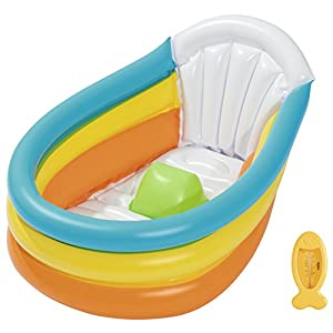 Bestway BW51134 Up In & Over Squeaky Clean Inflatable Baby Bath, Multi-Colour, Age 1 Month - 2 Years