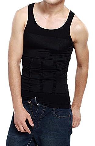 Bauchweg Bodyshaper Slimming T-Shirt Men Miederbody Shapewear Figurformer (L, Schwarz)
