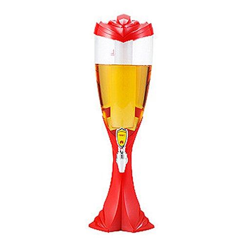 WAOBE Weltcup-Design-Tragbarer Bier-Turm - Bier-Zufuhr, 1.5L/2L/3L Mit Der Ändernden Farbe Führte Innerhalb Buntes Glühen,Red,3L (York New Bar In Bier)