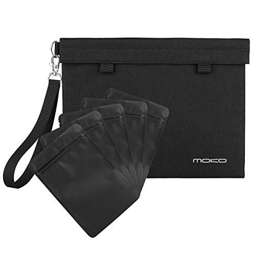 MoKo Smell Proof Bag, Water Resistant Odor Proof Hand Pouch [11 x 8.5 Inches] for Store Goods and Keep Them Fresh, with 5 Resealable Container Bags 4 x 6 Inches - Black