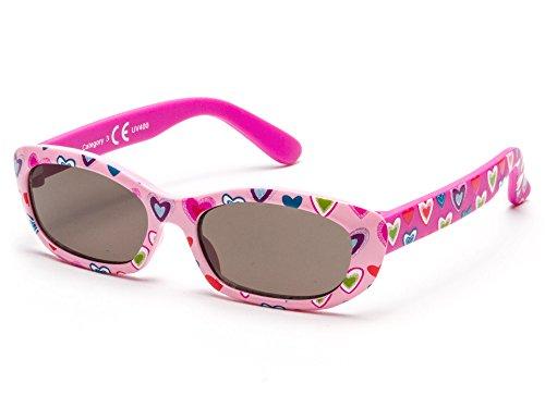 Kiddus occhiali da sole da bambina per ragazze da 8 a 24 mesi, con gambe flessibili, 100% protezione uva e uvb, sicuro, confortevole e molto resistente, regalo ideale ki30510