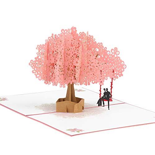 KATELUO 3D Grußkarte,3D Pop Up Hochzeitskarte,geburtstagskarte,Rosa Kirschblüte Romantik Falt Glückwunschkarte Geeignet für Hochzeitstag, Geburtstag, Muttertag, usw. (Type 2)