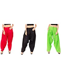 Rayon Patiala For Women Free Size Combo Pack Of 3 Patiyala Free Size - B077VSKRHK
