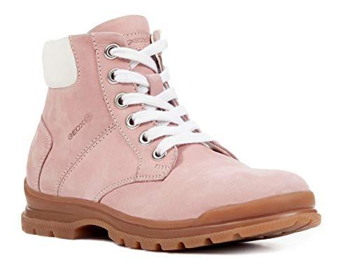 Geox J847CB Navado Modischer Mädchen Leder Stiefel, Schnürstiefel, Leichtes Fleece Futter, Atmungsaktiv Pink (Pink), EU 33