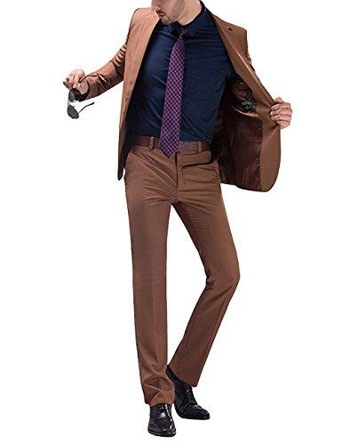 Herren 2-Teilig Anzug Slim Fit für Hochzeit und Party Khaki