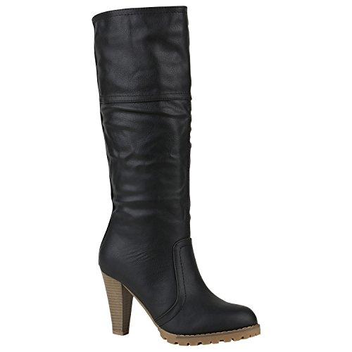 Klassische Damen Stiefel Hochschaft High Heels Schuhe 150366 Schwarz Glatt 40 | (Sexy Für Damen Stiefel)