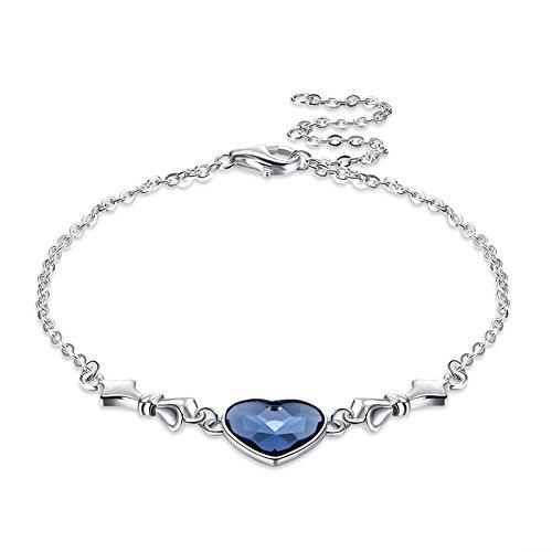 Amody Sterling Silber Love Heart Blue Kristall Armband für Frauen Sapphire Birthstone Charm Eternal Love Bangle