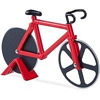 Relaxdays Cortador de Pizza Bicicleta, Acero Inoxidable y plástico, Rojo, 3 x 18 x 11.5 cm