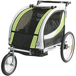 Tiggo Jogger Remorque à Vélo 2 en 1, pour Enfants + Amortisseur 902-D02 JBT03N - Lemon Vert-Noir