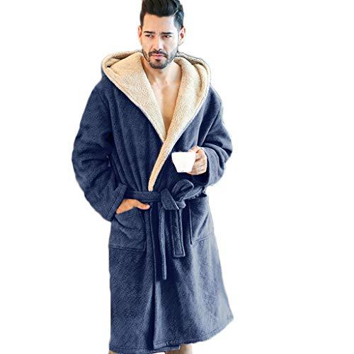 MWbetsy Frottier Bademantel Winter warm Bademantel Männer Dusche Wrap Nachtwäsche mit Kapuze Morgenmantel Unisex Lounge verdicken Pyjamas Large Size Nachtwäsche,Blau,XXXL