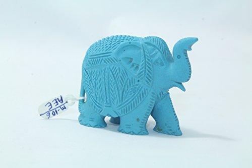 Rajasthan Gems natur Puder türkis Stein Elefant Figur Hand Gravur Dekorative Geschenkartikel