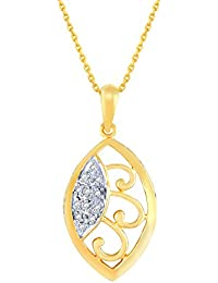 Silvernshine Marquise Shaped Pendant Necklace 14k Yellow Gold Fn .925 Silver Diamond 1/10 Ct.