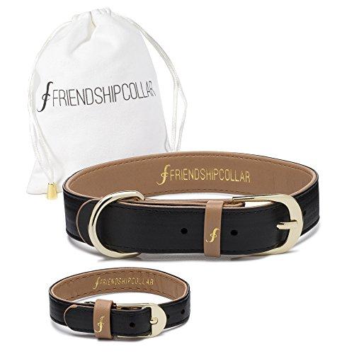 Freindshipcollar Hundehalsband Hund Herrchen Frauchen Set Halsband Armband Leder / S Classic Pup Jet Black - Armbänder Und Halsband