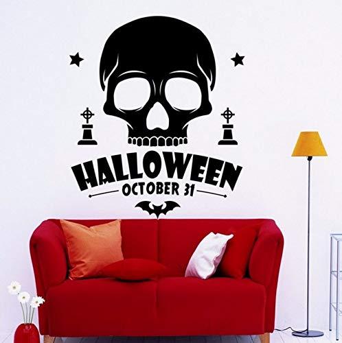 Pbldb 54X59 Cm Schädel Silhouette Halloween Zitate Wandtattoo Coole Jungen Zimmer Kunst Aufkleber Mode Design Home Decor Interior Aufkleber (Halloween Schädel Silhouetten)