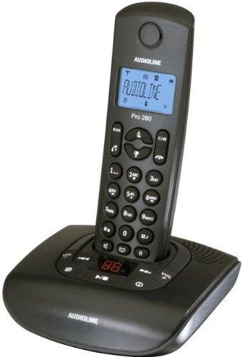 Audioline Pro 280 DECT Schnurlostelefon mit Anrufbeantworter schwarz