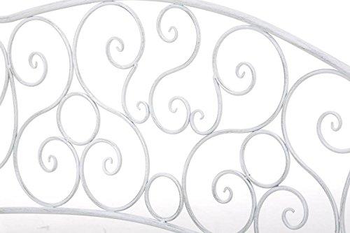 klassische Metallgartenbank in antik Weiß, eine romantische Ruhebank für den Park im Landhausstil mit Nostalgie Elementen für 2 Personen – pflegeleichte Sitzbank aus Eisen B106cm - 5