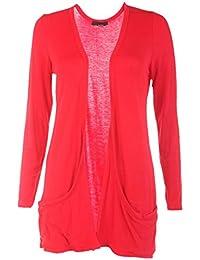 Ladies Long Sleeve Boyfriend Cardigan, Red, ML 12-14
