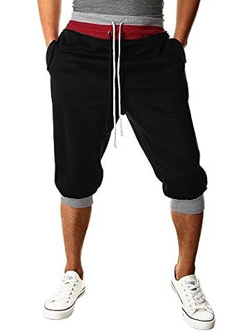 HEMOON Homme Pantalon de jogging/sports Sarouel Short Noir M