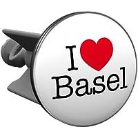 Plopp bonde I love Basel, pour lavabo, bonde, bonde Excenter, déversoir