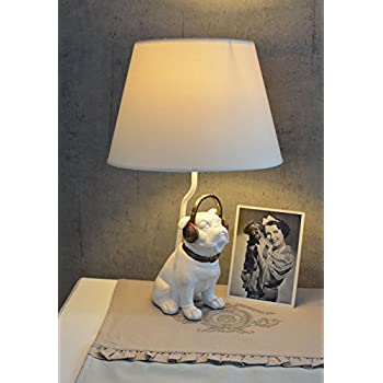 Modern Black Ceramic French Bull Dog Table Lamp With A