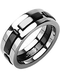 Tapsi´s Coolbodyart® Unisex Ring Titan silber schwarz 6/8mm breit Multi Color Dexter verfügbare Ringgrößen 47 (15) - 72 (23)
