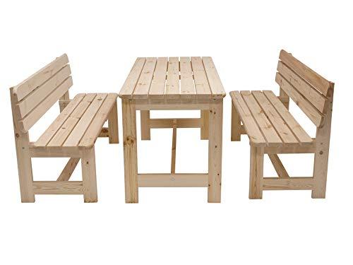 Kiefer Gartenmöbel (Gartengruppe BERGEN 3-teilig, 2x Bank und 1x Tisch 150cm, Kiefer natur)