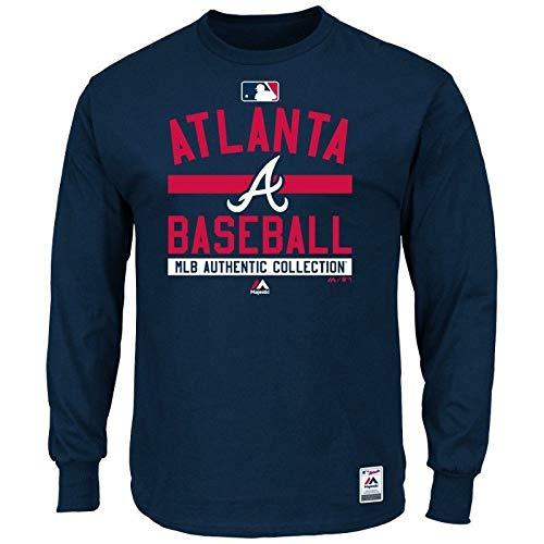 Majestic MLB Atlanta Braves Authentic Long Sleeve Langarm Shirt T-Shirt Baseball Jersey Trikot (S) -