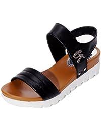 Sandalias mujer, ❤️Amlaiworld Sandalias de vestir Sandalias planas de mujeres Calzado cómodos Zapatos al aire libre zapatillas de playa Mujer (Negro, 40)