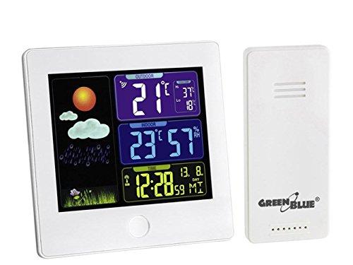 GreenBlue GB521W Funk Wetterstation mit Außensensor Kalender Hygrometer Thermometer DCF Uhr Wecker Batterie und Netzbetrieb Weiß