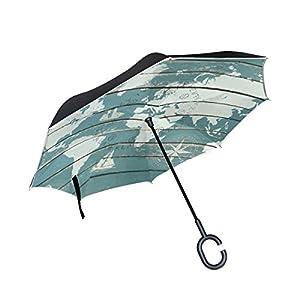 jstel doble capa diseño mapa del mundo con brújula paraguas coches Reverse resistente al viento lluvia paraguas para coche al aire libre con asa en forma de C