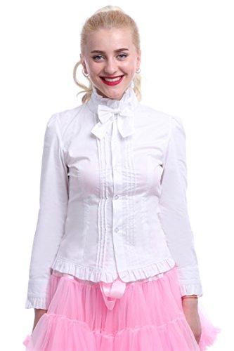 Nuoqi® Damen Lolita Shirt Jahrgang Prinzessin Sweet Langarm Bluse Cosplay Kostüm Weiß (EU40, (Für Ariel Kostüme Prinzessin Erwachsene)