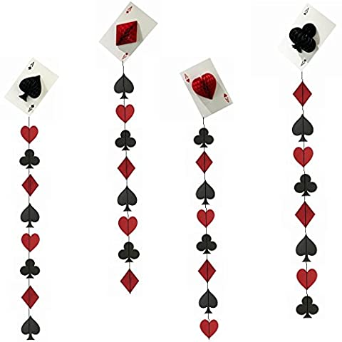 SUNBEAUTY Pack of 4 Big Casino String Decoration Party Night Card Dangling Cutouts Playing Card Paper Garland Casino Backdrop