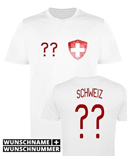 Comedy Shirts - Schweiz Trikot - Wappen: Klein - Wunsch - Herren Trikot - Weiss/Rot Gr. L