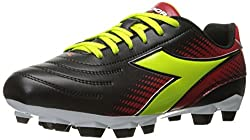 Diadora Womens Mago R W Lpu Soccer Shoe, Black/Lime/Red, 8. 5 M US