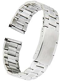 Eslabones De Acero Inoxidable Sólido De Plata Del Reloj De La Correa De Banda Extremo Recto Hebilla De Despliegue 20mm