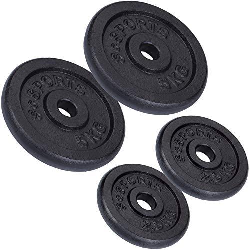 ScSPORTS 15 kg Hantelscheiben-Set 2 x 2,5 kg + 2 x 5 kg Gusseisen Gewichte 30/31 mm Bohrung, durch Intertek geprüft + bestanden¹