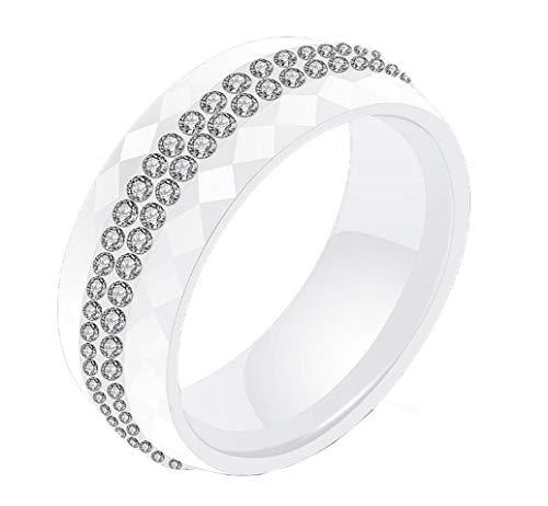 HIJONES Damen Keramik Ring mit Kristall Klarer 2 Zeilen Linien Ewigkeit Hochzeit Ringe Weiß Größe 57