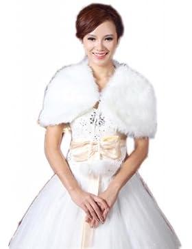 Piel sintética de novia de boda para LuYan mujeres fina cinta cierre Fluffy Bolero