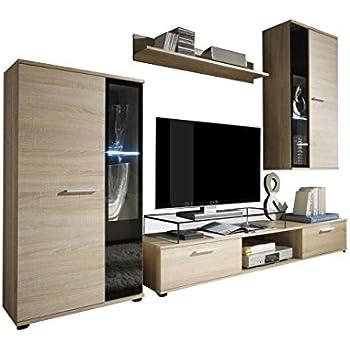 Wohnwand Salsa Design Mediawand Modernes Wohnzimmer Set Anbauwand Hngeschrank Vitrine TV Lowboard Ohne Beleuchtung Sonoma Eiche