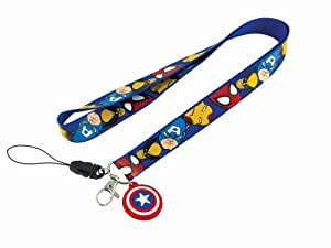 Lanyard With Captain America's Shield Dangle - Captain America ID Holder