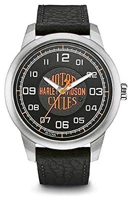 Harley Davidson Orange Logo Esfera Negra Caja de Acero Inoxidable Cuero Negro 76A155