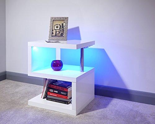 Mobile laccato in bianco polare con LED – tavolino da caffè e ...