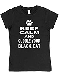 Click My Clobber Womens, T-Shirt, Keep Calm And cuddle Your Black Cat