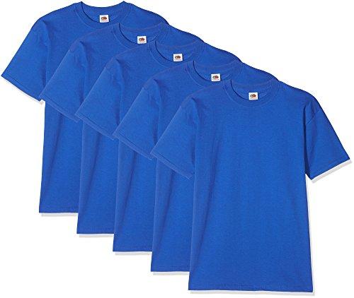 Fruit of the Loom Herren T-Shirt Super Premium Short Sleeve, 5er Pack Königsblau
